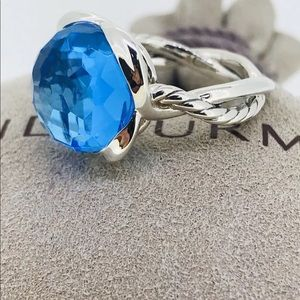 🌼DAVID YURMAN SS Continuance Ring Blue Topaz 7.5